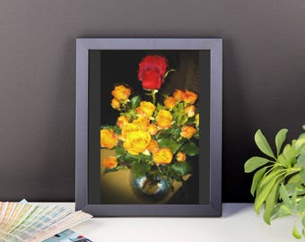 "Framed Romantic floral still life. ""Red Among Yellow Roses"" by Malinee Ganahl. Fine Art Lustre Print. Bright Floral Arrangement on Dark."