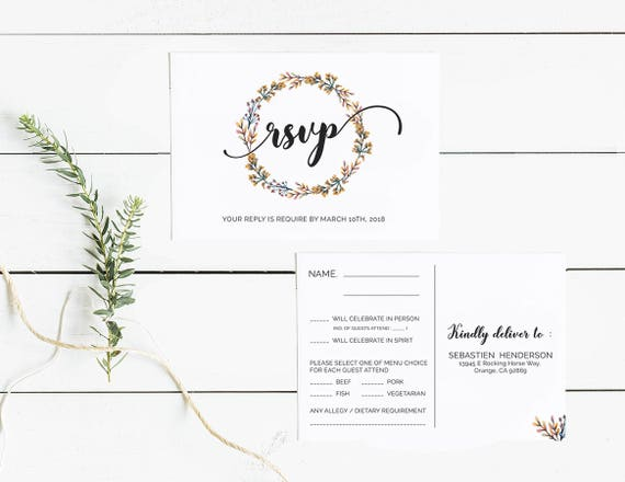 Wedding RSVP Cards Template Printable Editable Floral Wedding Reply - Editable postcard template