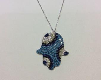 Hamsa-evileye Sterling Silver Necklace