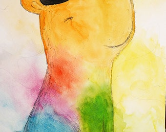 Happy dog, original art, illustration, colours, hat, for kids room, mood, hippie, joy