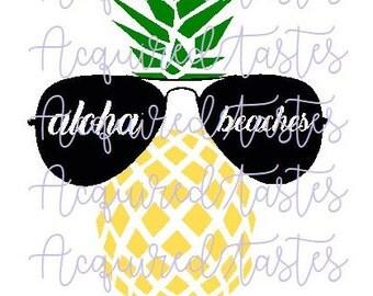Aloha Beaches Pineapple Sunglasses SVG