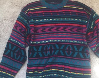 Colorful Vintage 80's Hipster Knit Sweater