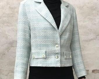 Vintage light blue short wool tweed jacket