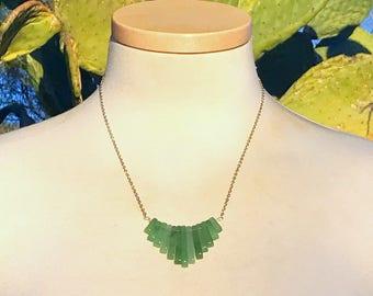 Green Aventurine Quartz Minimalist Necklace