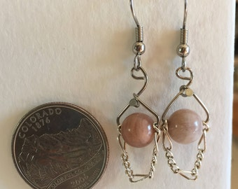 Pink calcite stone earrings