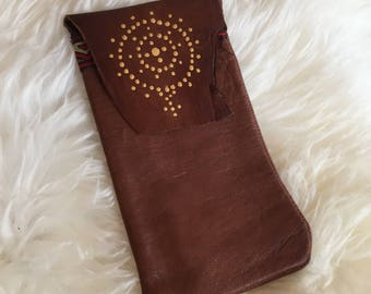 Handmade Leather Iphone 6/7 sleeve hand dotted