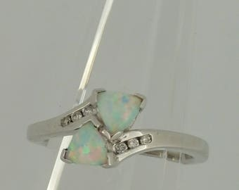 Sterling Silver Created Opal and .06ctw Diamond Ring
