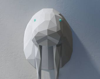 Paper Trophy Head, Paper Animal Trophy, Animal Templates, low poly papercraft, Paper Trophy pdf, Papercraft Sculpture, trophy template
