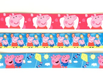 "Peppa Pig 7/8"" 22 mm Grosgrain Ribbon for Hair Bows Scrapbooking Crafts Party Cake Birthday Decoration"