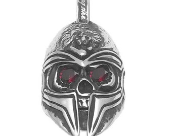 Gladiator mask skull pendant with ruby eyes/925 Sterling Silver Pendant/Original Gladiator Skull Pendant/Unique gladiator silver pendant