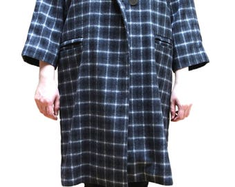 Black Single Plaid Long Trench Button Coat