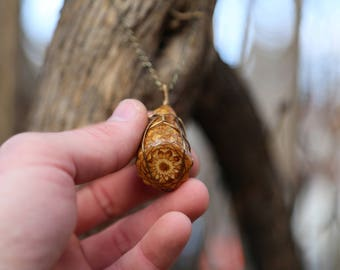 Geometric Pine Cone Pendant Necklace