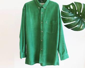 Vintage 1980 80s Green Corduroy Blouse