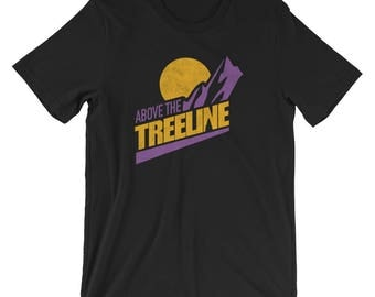 Above The Treeline (Yellow/Purple), An Outdoor Hiking and Mountain Biking T-shirt for the Adventurer