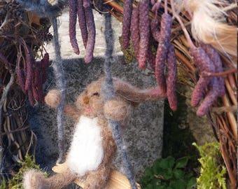 Frühlingskranz Hase mit Schaukel