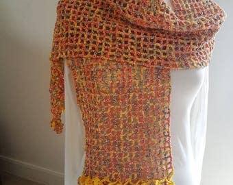 yellow, multicolored cotton crochet scarf