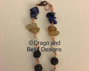 Lava bead bracelet with lapis lazuli and citrine