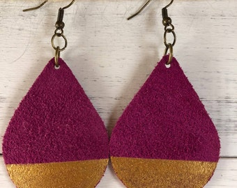 Drops fuchsia soft Suede/ Super Lightweight Earrings/