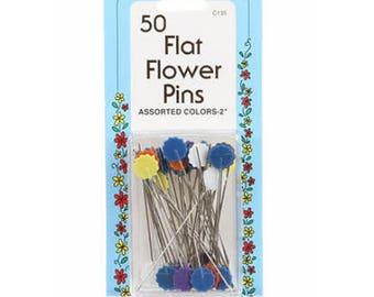 Flower Head Pins, Assorted Colors, No-Melt