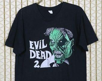 Evil Dead 2 II, vintage T-shirt, faded black tee shirt, zombie horror movie, Sam Raimi, Bruce Campbell, Army of Darkness