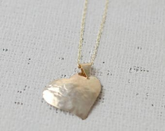 GOLD TEXTURED HEART Pendant, minimalist stylish and perfect gift for birthday, anniversary