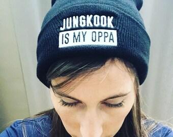 "Black Beanie ""Jungkook Is My OPPA"" by K-BOMB"