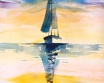 Ship, Sailboat, SALE, Original watercolor, Boat