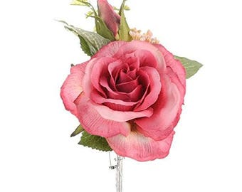 Pink Silk/Artificial Rose Corsage/Buttonhole Wedding Bridal Flower With Brooch Pin