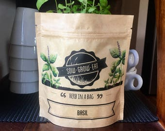Basil Herb in a Bag, Organic Seeds, Birthday Gift