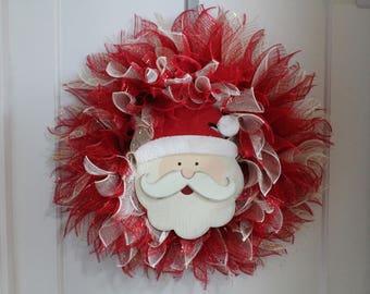 Christmas Santa Mesh Wreath