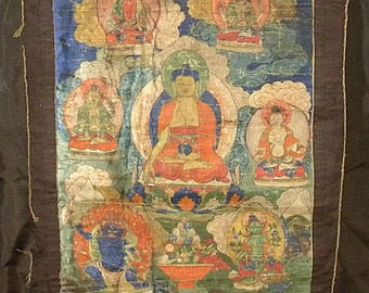 Ancient Tibetan tanka or Thangka