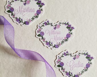 20 customizable heart-shaped labels. Ideal for birth, baptism, birthday. First Communion, Favors, etc