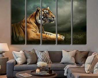 Tiger Wall Art Tiger Canvas Print Tiger Large Wall Decor Tiger Canvas Art Tiger Painting Tiger Poster Print Tiger Home Decor Gift for She