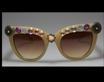 One Of A Kind, Beige, Assorted Bling, Sunglasses