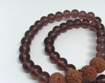 Terracotta lava stone and frosted glass bead bracelet
