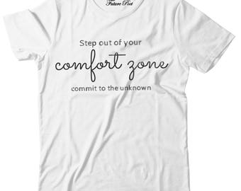 Women's White T-shirt with inspirational quote (Step)