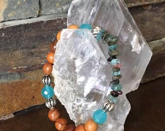 Apatite Tourmaline Sandalwood gemstone bracelet Reiki Healing bracelet