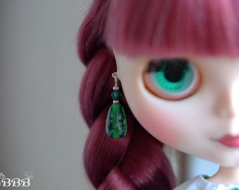 Green glass earrings for Blythe or similar doll.