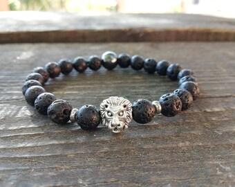 Men lava bracelet, lava stone men, lava rock bracelet, lava stone lion, Gift men lava, Lava man bracelet, lava man, lava bracelet lion