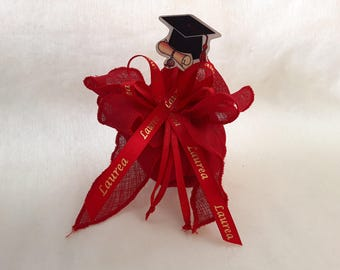 Graduation Bag red fabric + Bookmark Wood and ribbon written satin graduation