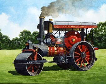 Original Watercolour Painting of Fowler Steam Roller  1929 Traction Engine