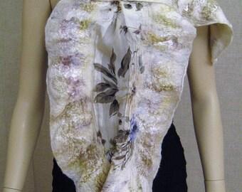Nuno felted designer scarf shawl wrap lagenlook wearable art nwt new silk wool