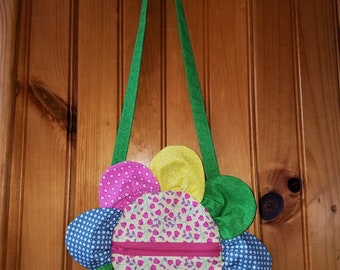 Colorful zippered flower purse