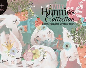 Lovely Bunnies Collection Digital Clipart