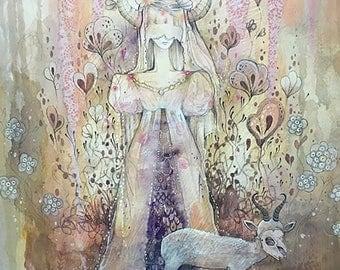 Devil Tarot card painting . limited edition print