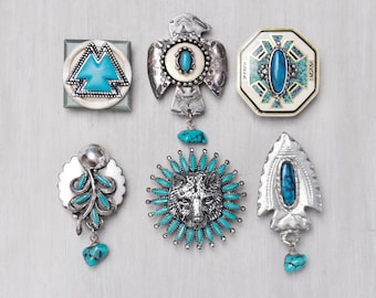 6 Southwestern Fridge Magnets - tribal thunderbird wolf - recycled jewelry buttons - strong silver and turquoise refrigerator magnet set