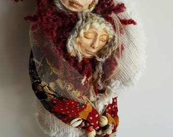 Goddes art, Compassion Spirits, Art Doll, Ethnic Art, ooak Art Figure, Altar Decor,White Birch, Triple Goddess