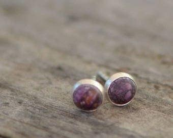 purple spiny oyster and sterling silver small stud earrings