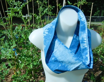 Cotton Snood for Summer - Indigo - Hand dyed