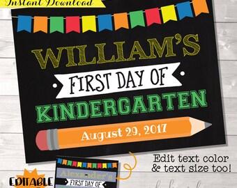 First Day of School Chalkboard, EDITABLE PDF, First Day of School Sign, First Day Sign, First Day of School Printable, First Day Photo Prop
